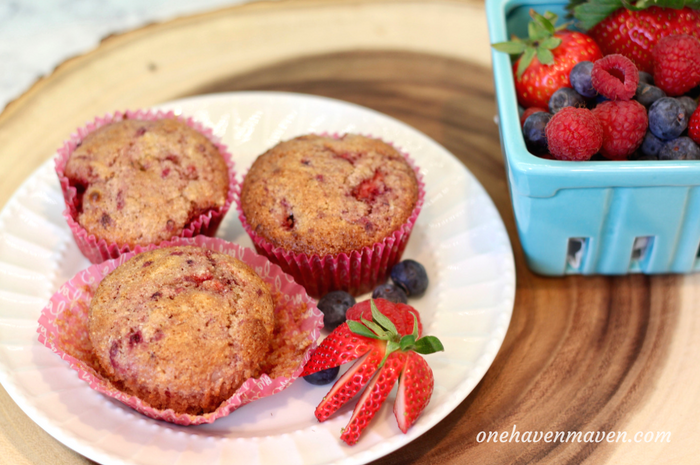 Whole Wheat Banana-Berry Coconut Muffins. www.onehavenmaven.com